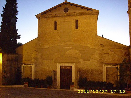 The simple facade of the church