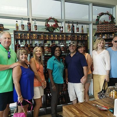 Post-rum-tasting smiles! Be sure to ask your taxi driver or tour guide to make a stop at FOTTAC