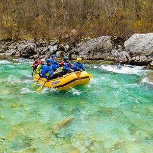 Rafting on Soča river