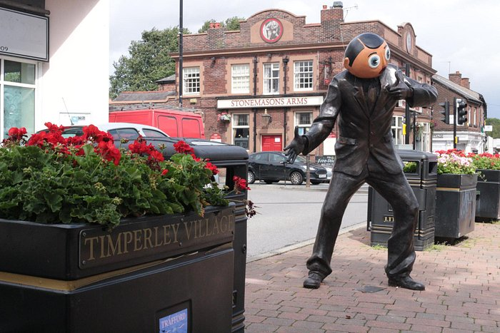 Frank's statue in the heart of Timperley