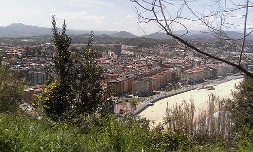 San Sebastian far below