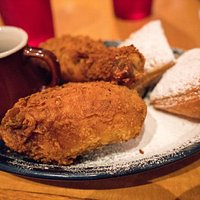 Fried Chicken & Beignets with bourbon syrup