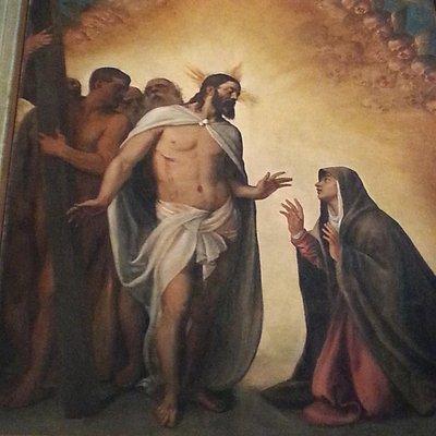 Tiziano Vecellio:Il risorto appare alla Madre;olio su tela !563