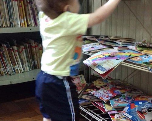 Livros infantis acessíveis na sala de leitura.