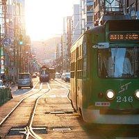 Tram at Nishiyonchome stn ...