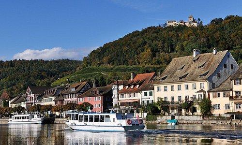 Stein am Rhein, Rhein,Schiff, Burg Hohenklingen
