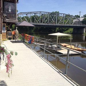 This is the Boardwalk hire station of Elora Raft Rides in downtown Elora.