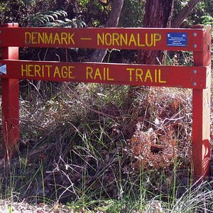 Trailhead sign alongside Ocean Beach Rd