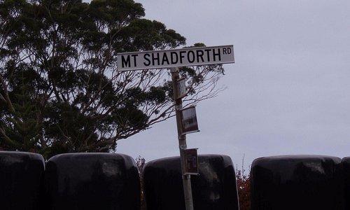 Roadsign sign for Mt Shadforth