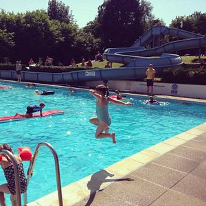 Pools on a hot summers day.