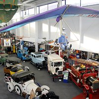 Photo of the main exhibition hall at Lakeland Motor Museum