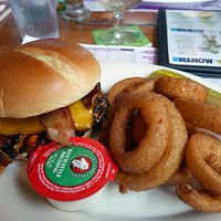 bbq chicken club sandwich and onion rings