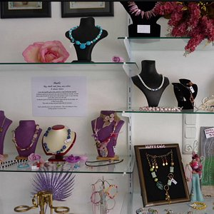 Interior of shop with some of the handcrafted jewellery.