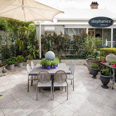 Quaint garden courtyard for high tea alfresco style