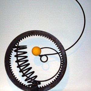 "GEAR/SPRINGS/YELLOW BALL     2009    By Bernsen     39""x30""x7""     Metal Assemblage"