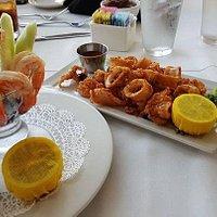 Shrimp cocktail and calamai