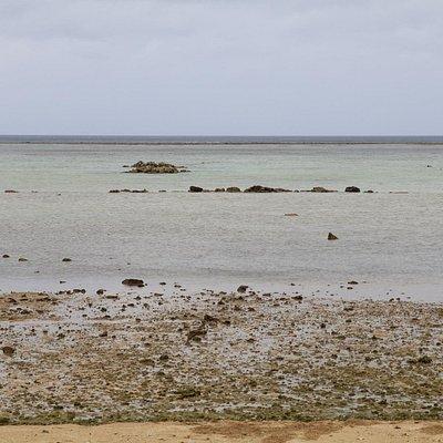 干潮時のビーチ風景