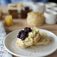 Blueberry Scones with homemade jam & clotted cream