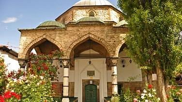 Main dome with portico of the Bascarsija Mosque in Sarajevo