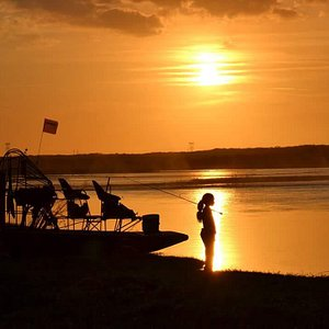 Mya fishing at sunset on the St Johns River,