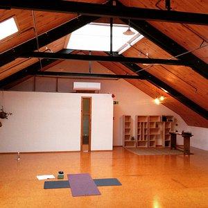 Inside the warm, spacious and clean Raglan Yoga Loft