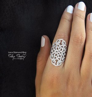 Delicate & Detailed Diamond Ring - Middle Eastern Style