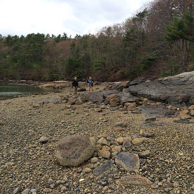 Lovely, quiet, rocky beach mid way during trail.