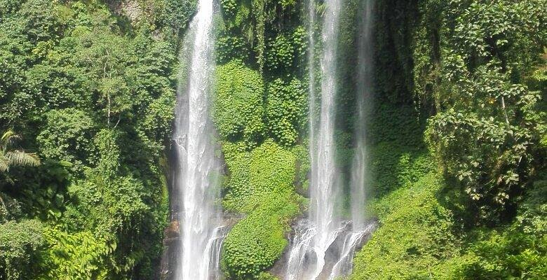 Hiking to waterfall.