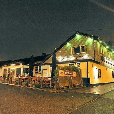 The Cleveland Arms at night.