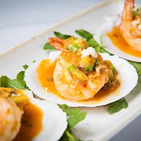 Local prawns and scallops, served in the shell