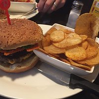 Radical bacon cheeseburger with tumbleweed chips and cajun spice!