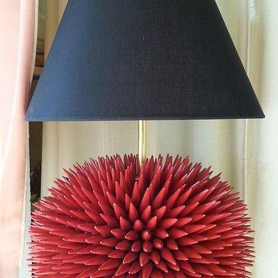 lampada in ceramica riccio di mare