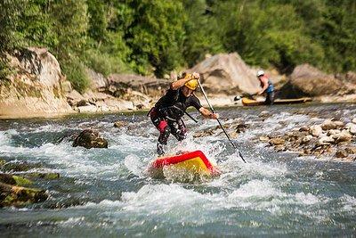 Wildwasser Stand up Paddel Tour Bregenzerach Stromschnelle