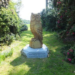 Carved owl in the garden of Ardwell