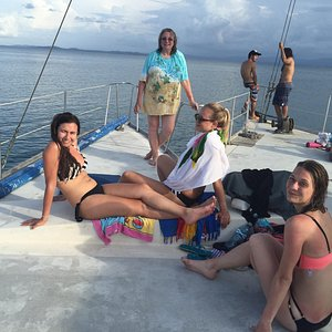 Aboard the ODIN , sunset cruise back to Bocas Town from Starfish Beach!
