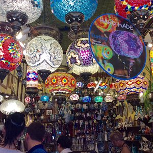 The interior of the shop with wonderful Turkish lamps.