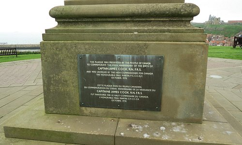 The plaque with details of when the statue was erected
