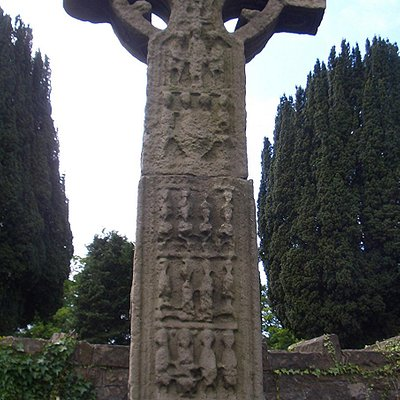 The Donaghmore Celtic cross at the top of the main street