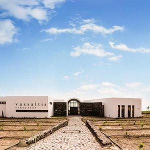 The front view of Vassaltis Vineyards