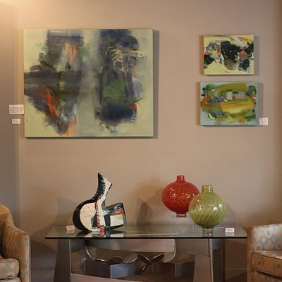 Paintings by Hollis Jeffcoat, Sculpture (left) by Sheryl Zachariah and Blown Glass by John Geci