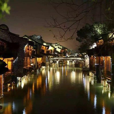 Ancient Chinese Water Village-Night Time highlights the essence of Chinese traditional local lif