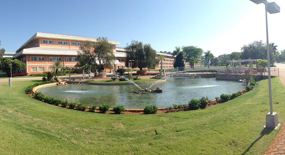 Vista do lago e bloco residencial