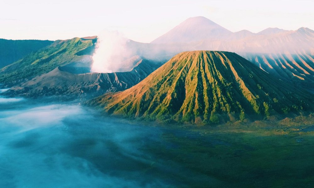 view of Bromo crater and Mt Batur from Penanjakan