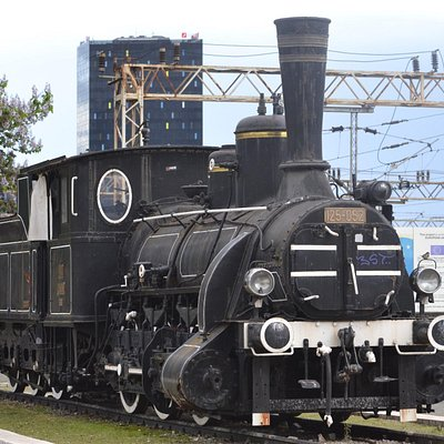 Static steam train outside Zagreb Railway Station