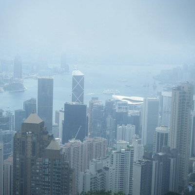 Misty view from Victoria Peak of Hong Kong and Victoria Harbor