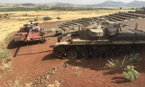 T-62 Syrian tank and Centurion Israeli tank at the memorial site