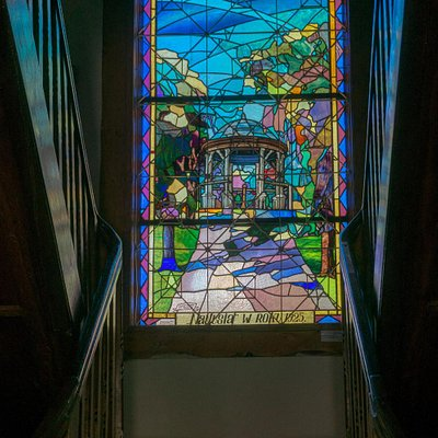 "Stained glass window ""Naftusia"" by Jan Semkowicz, 1925"