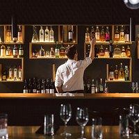 Top shelf spirits at the bar