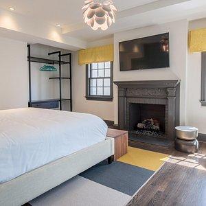 The Avery King ADA Room + Fireplace