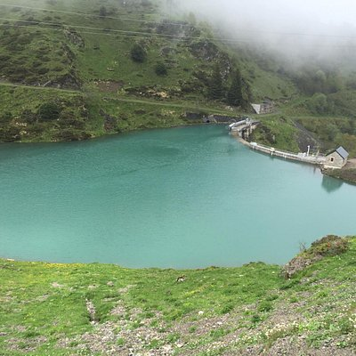 a reservoir just behind La Mongie